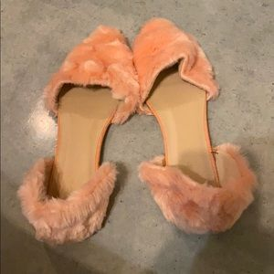 Topshop Furry D'Orsay Pink Flats Size 41